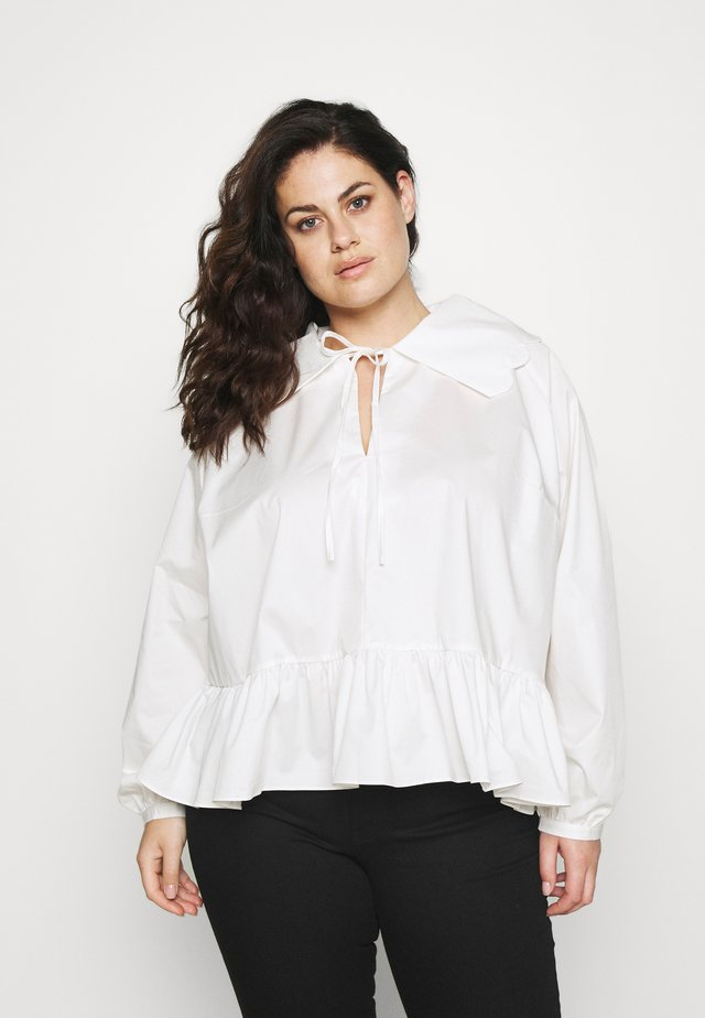 BABYDOLL BLOUSE WITH SCALLOP COLLAR FRONT NECK TIE DETAIL - Blouse - off white