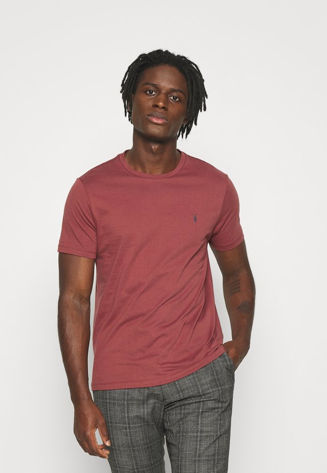 BRACE CONTRAST CREW - T-Shirt basic - tuscan red