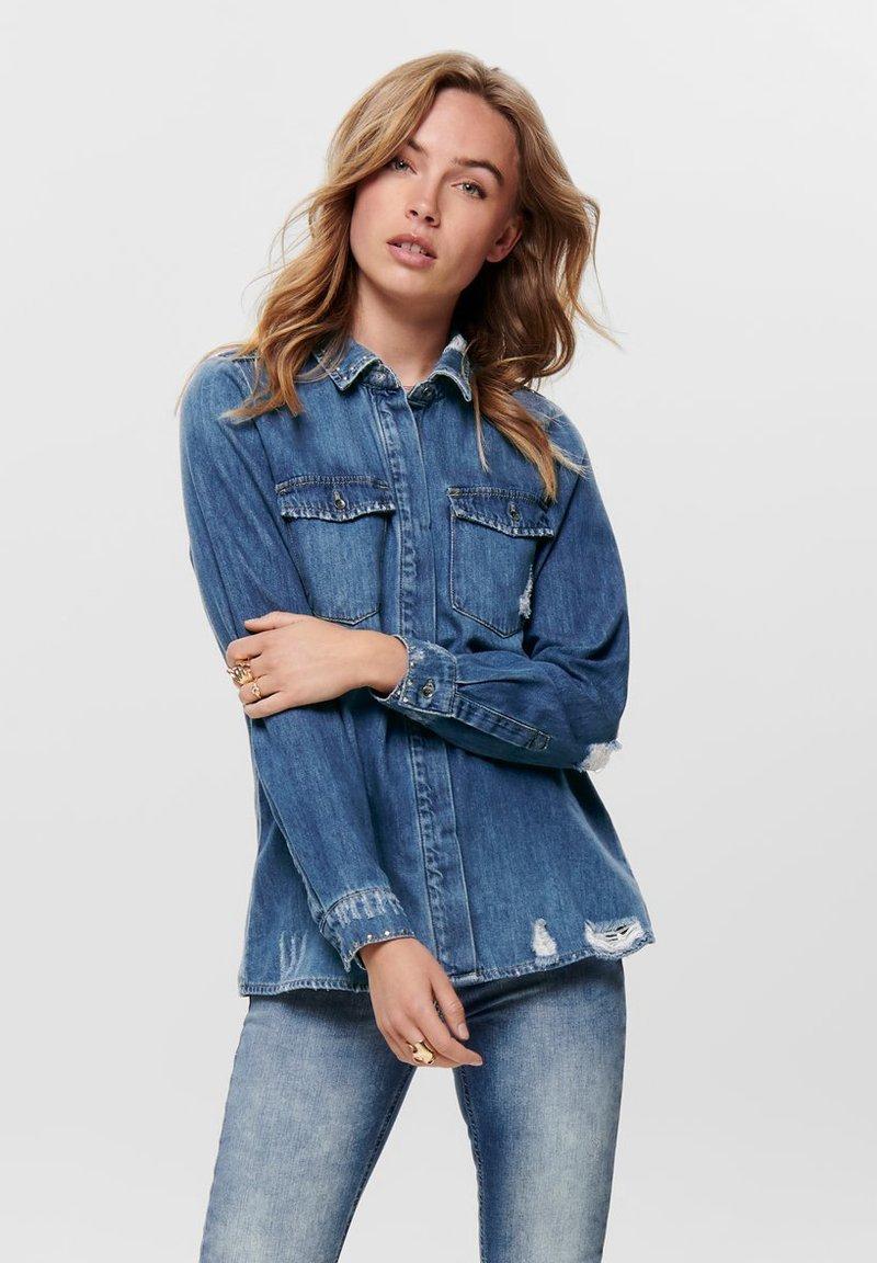 ONLY - Button-down blouse - dark blue denim