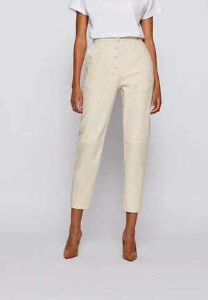 Leather trousers - natural
