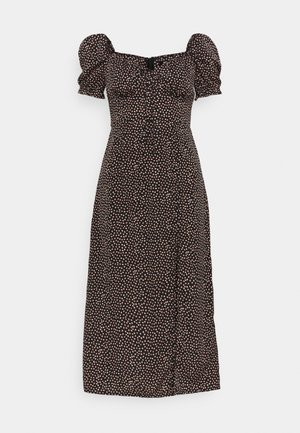 TIE BUST MILKMAID MIDI DRESS SPRINKLE - Kjole - black