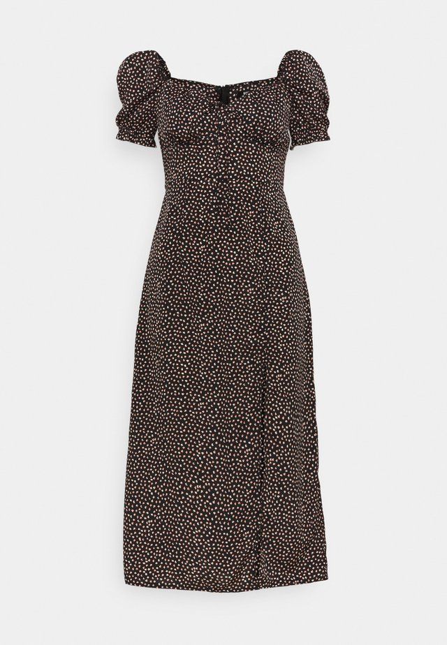 TIE BUST MILKMAID MIDI DRESS SPRINKLE - Day dress - black