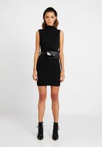 Missguided - HIGH NECK TIE WAIST MINI DRESS - Shift dress - black - 2