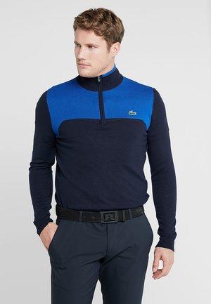 WITH ZIP - Stickad tröja - navy blue