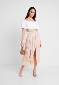 Topshop - SUMMER PLEAT - Maxi skirt - cream - 1