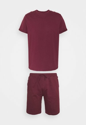 ROLL UP TEE SHORT SET - Pyžamo - burgundy