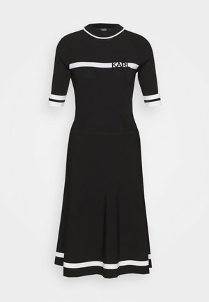 DRESS LOGO - Strikket kjole - black/white