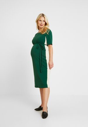 MIDI STRIPE DRESS WITH KNOT BELT - Sukienka z dżerseju - dark green/contrast