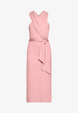 CROSS FRONT TIE WAIST DRESS - Vestito di maglina - pink