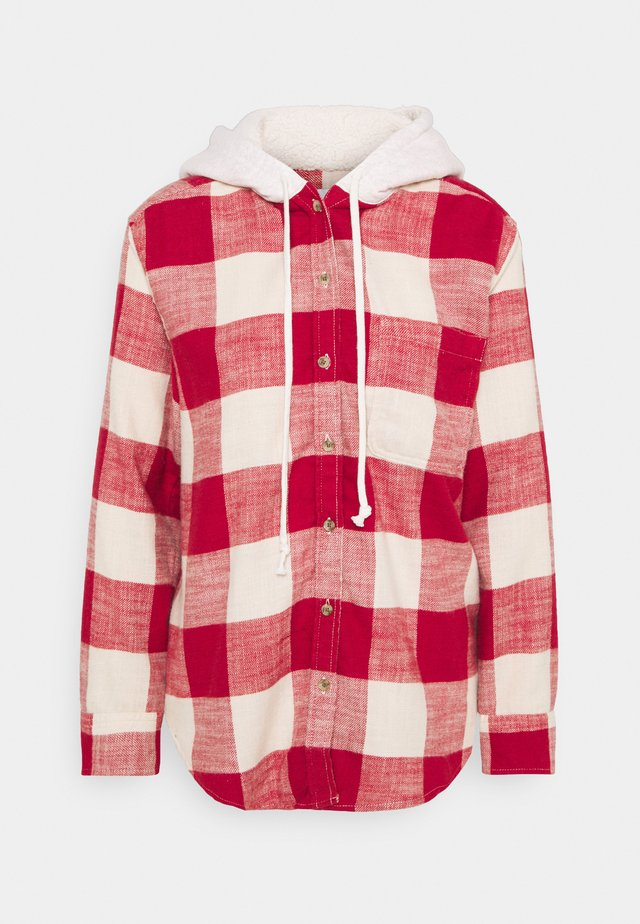 HOODED PLAIDS - Button-down blouse - red