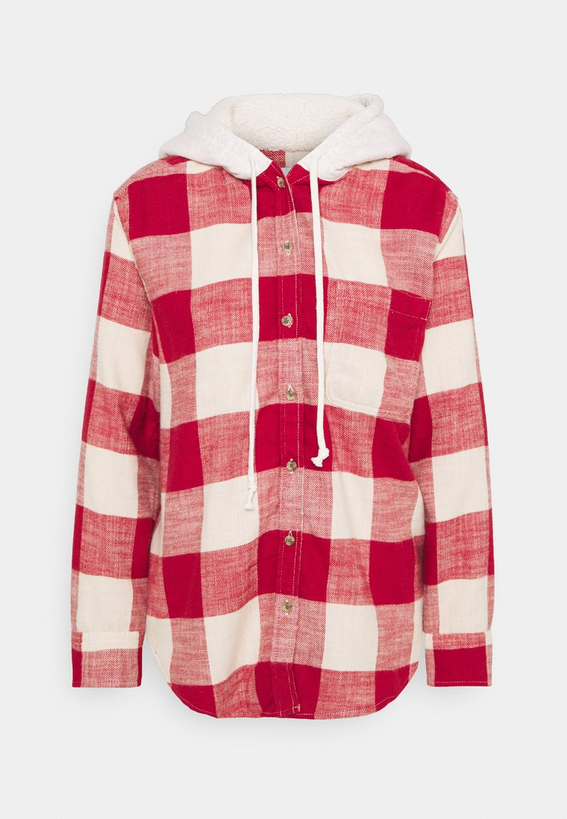 American Eagle - HOODED PLAIDS - Button-down blouse - red