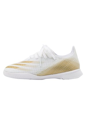 X GHOSTED.3 FOOTBALL SHOES INDOOR UNISEX - Indoor football boots - footwear white/metallic gold
