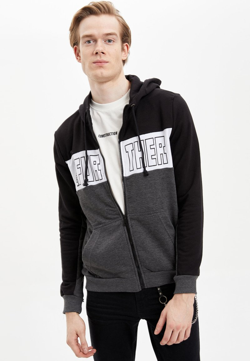 DeFacto - Zip-up hoodie - black