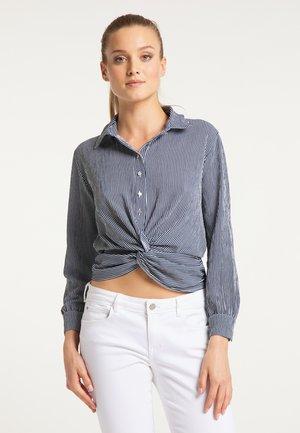 Button-down blouse - marine weiss