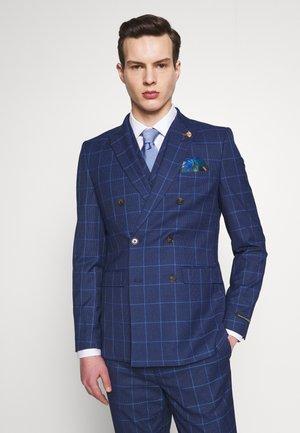 DRAKE DOGTOOTH SKINNY - Suit jacket - navy