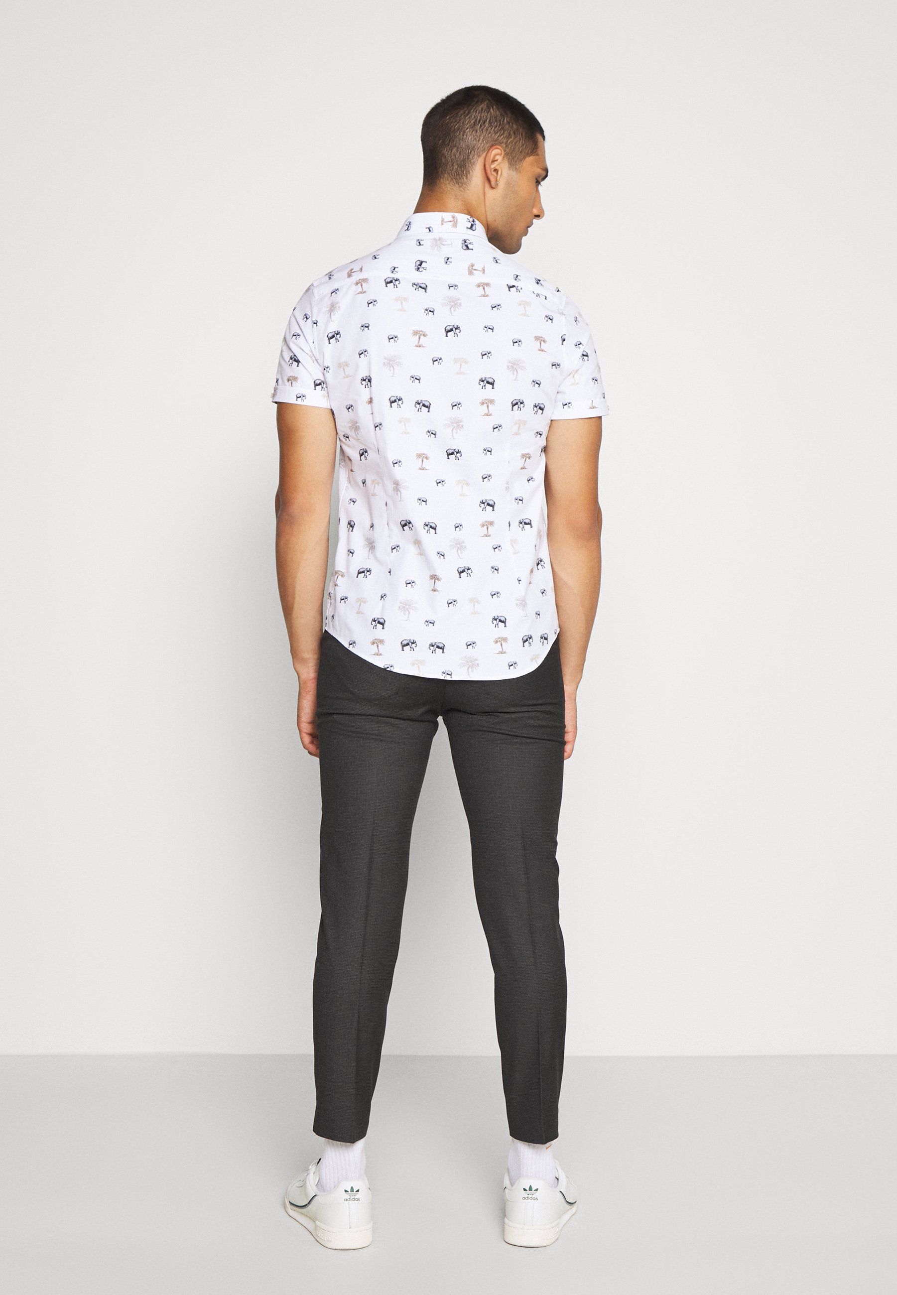 Isaac Dewhirst Puppytooth Flat Front Trouser - Stoffhose Charcoal