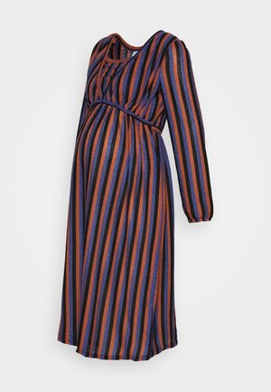 MLBECCA NELL MIDI DRESS - Jerseykjoler - auburn/black/royal blue