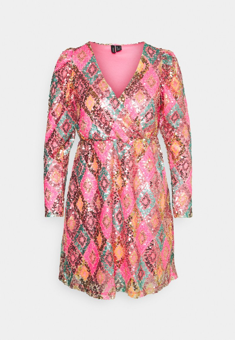 Vero Moda Petite - VMDIVA SEQUINS SHORT DRESS - Robe de soirée - hot pink