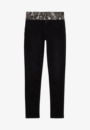 WITH SNAKESKIN EFFECT PRINT - Jeans Skinny Fit - black denim