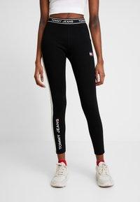 Tommy Jeans - METALLIC BLOCK - Leggings - black - 0