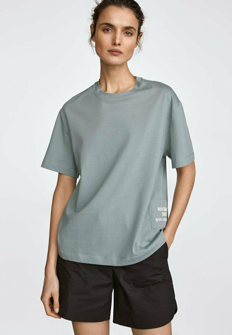 Massimo Dutti - MIT PATCH - Print T-shirt - evergreen