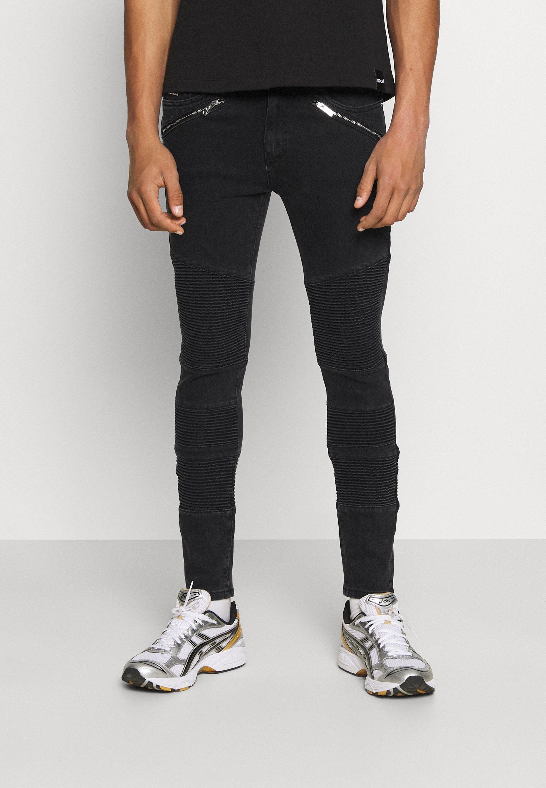 Men JEAN WASH WITH BIKER DETAIL - Slim fit jeans