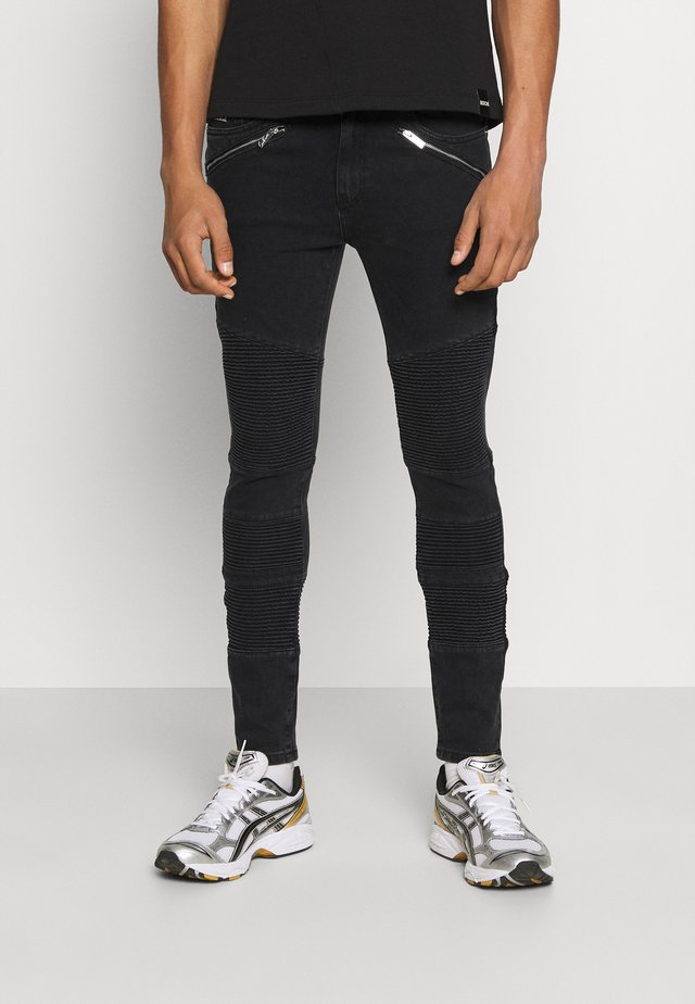 JEAN WASH WITH BIKER DETAIL - Jeans slim fit - black