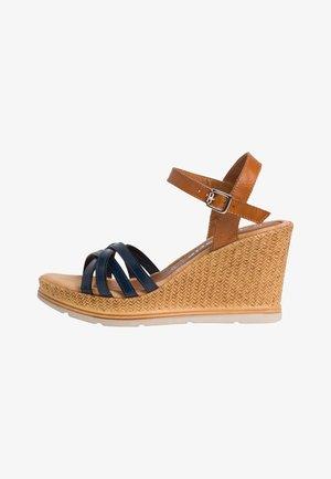 Wedge sandals - cognac/navy
