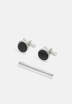 CIRCLE CUFFLINK AND TIE PIN SET - Cufflinks - black