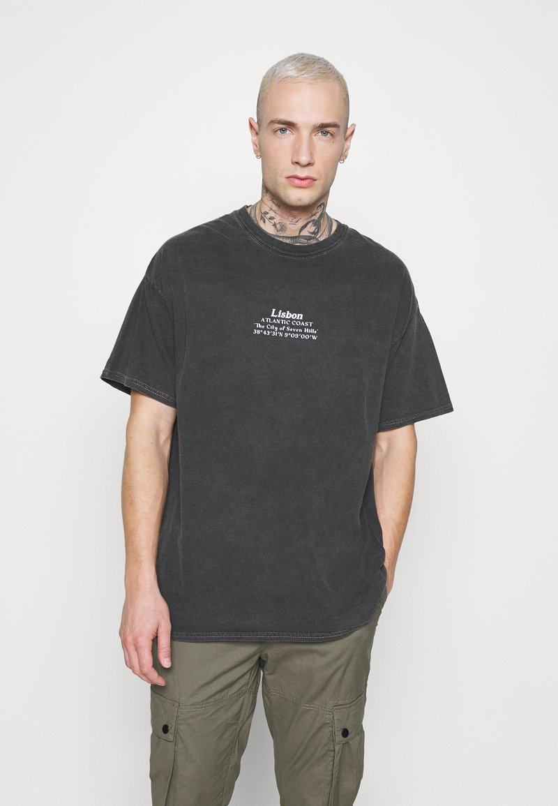 Topman - LISBON HERTIAGE PRINT TEE - T-shirt med print - black