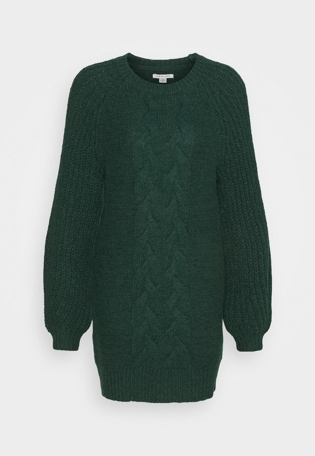 CABLE MOCK SWEATER DRESS - Gebreide jurk - green