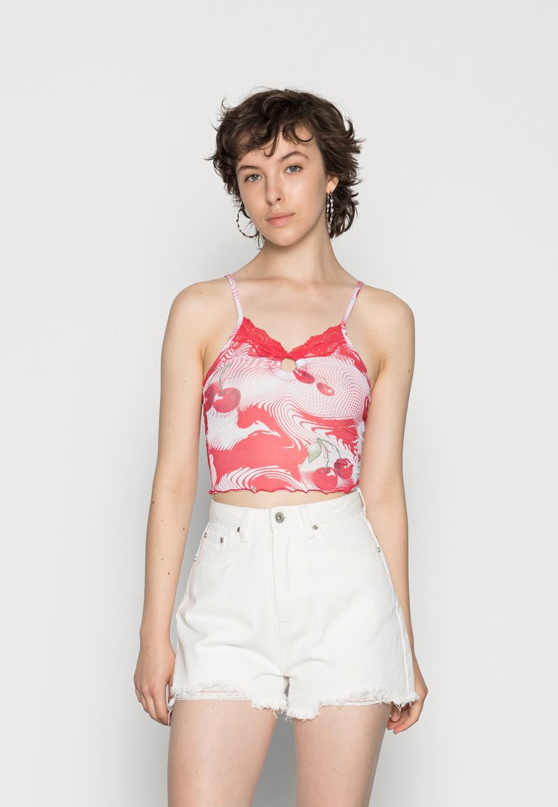 Jaded London - RING DETAIL PRINTED CAMI WITH LACE EDGING CHERRY DOT PRINT - Top - red/white