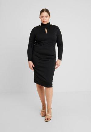 PLUNGE BODYCON DRESS - Tubino - black