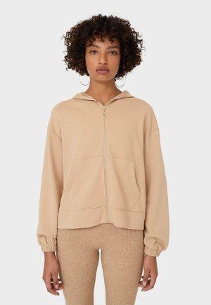 MIT REISSVERSCHLUSS  - Zip-up hoodie - mottled light brown