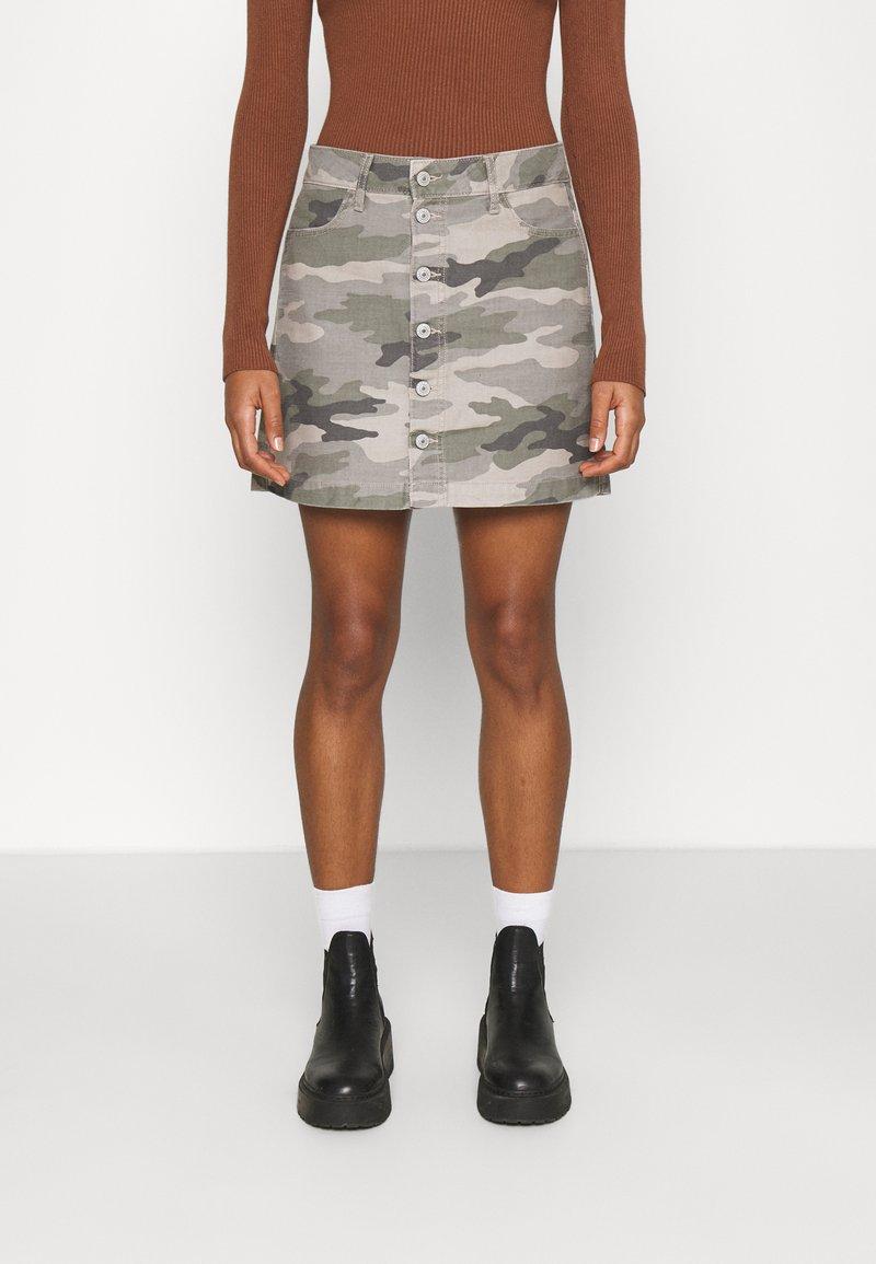 American Eagle - ALINE SKIRT - Mini skirt - olive