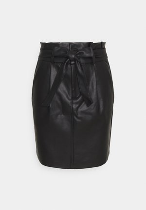 VMEVA PAPERBAG COATED  - Mini skirt - black