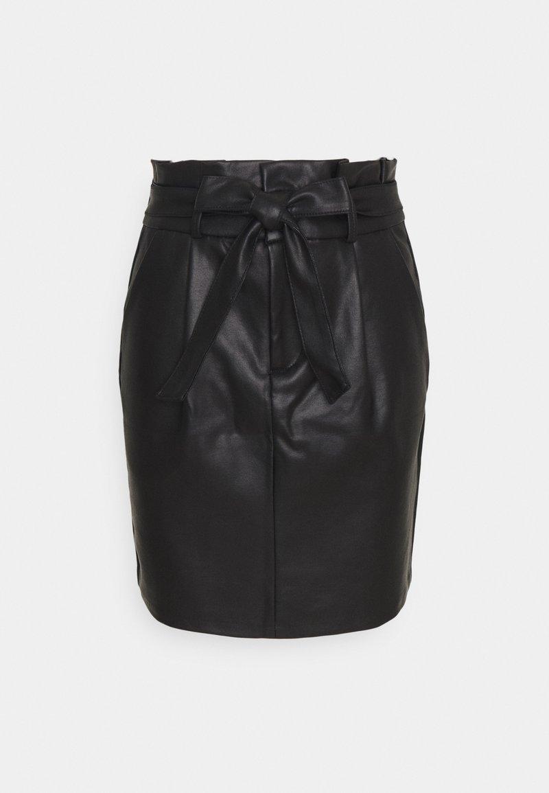 Vero Moda Petite - VMEVA PAPERBAG COATED  - Mini skirt - black