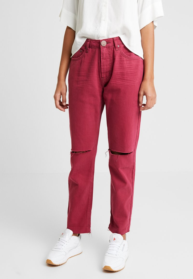 One Teaspoon - AWESOME BAGGIES HIGH WAIST - Straight leg jeans - bordeaux