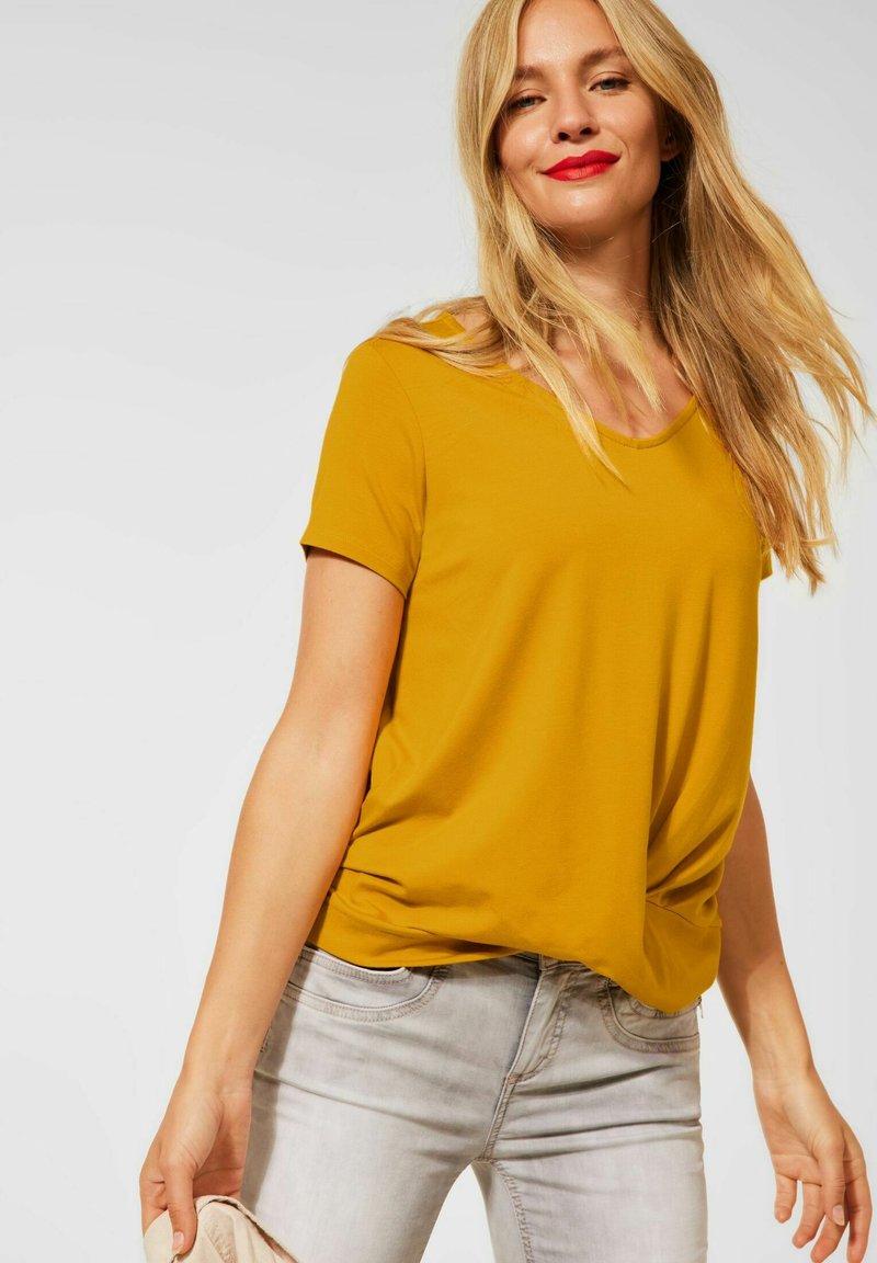 Street One - KNOTEN DETAIL - Print T-shirt - gelb