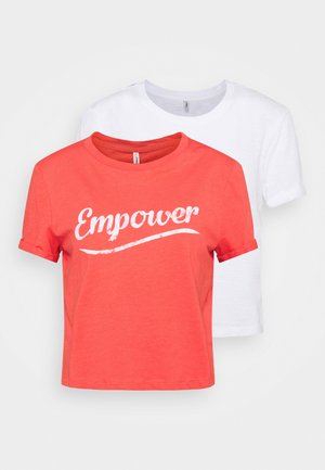 ONLMOLLY LIFE TEXT 2 PACK - Print T-shirt - bright white/cayenne empower
