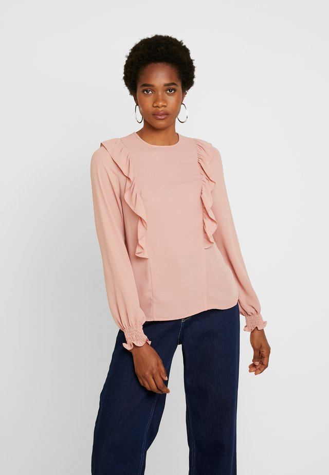 LAURA LONG SLEEVE FRILL FRONT - Blouse - mid pink