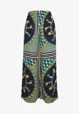 Spodnie materiałowe - navy blue/multicolor