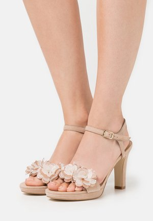 LEATHER - Sandalias de tacón - beige