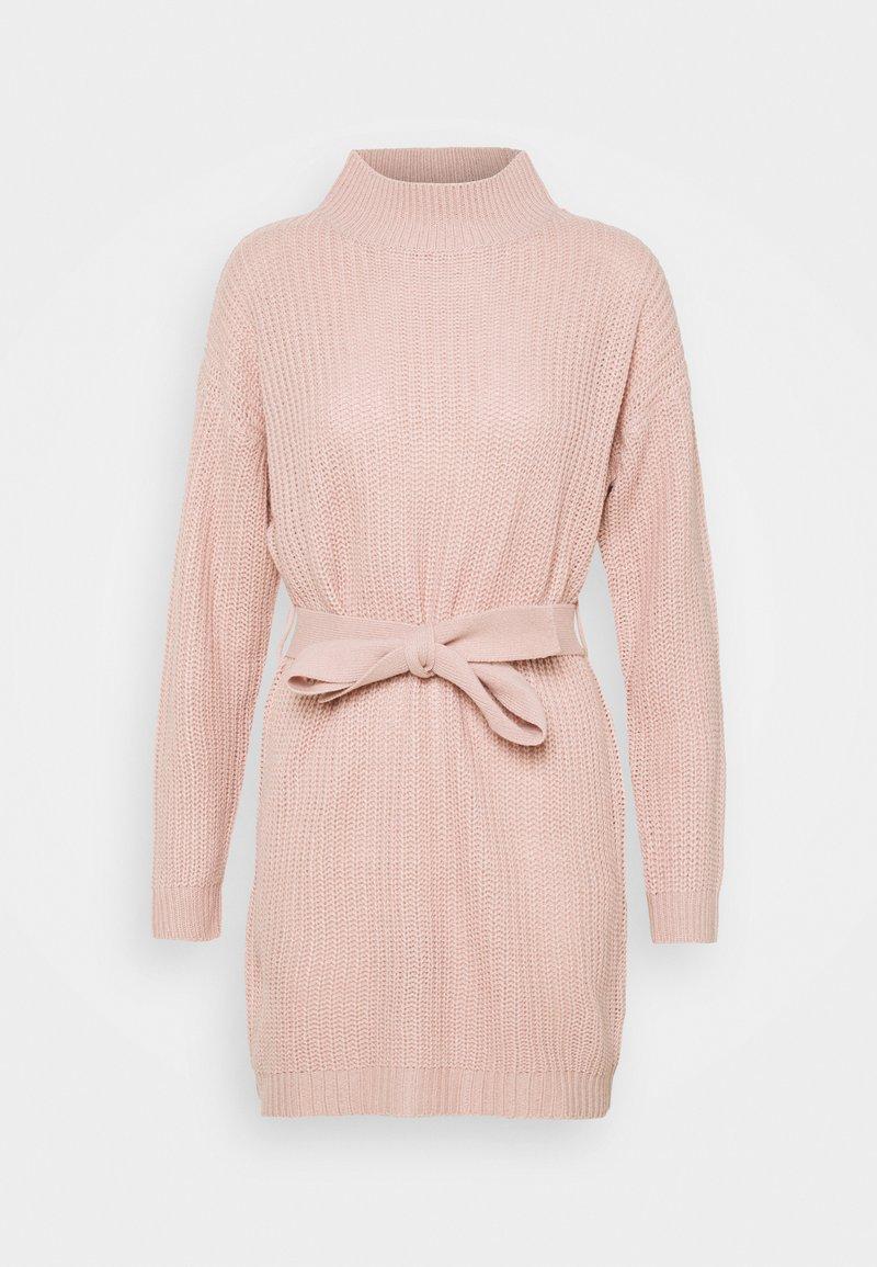 Missguided - HIGH NECK BASIC DRESS WITH BELT - Jumper dress - pale pink