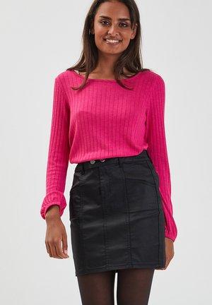 Minifalda - denim noir enduit
