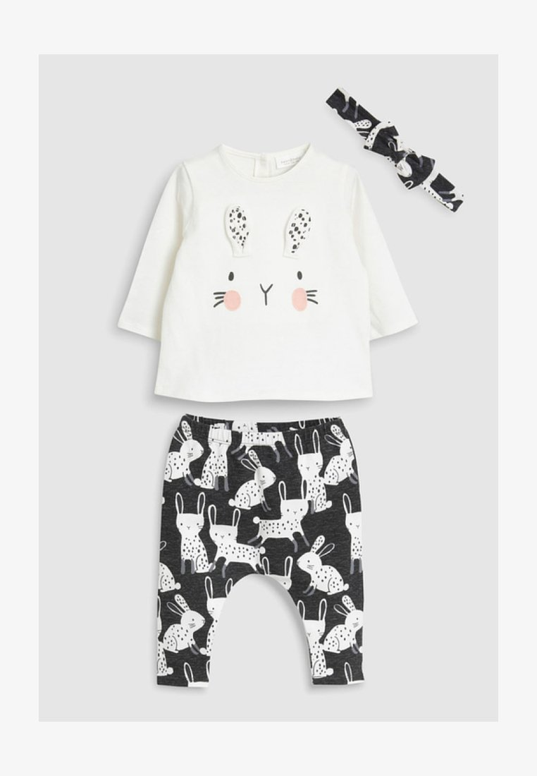 Next - BUNNY THREE PIECE SET - Leggings - Trousers - white/black