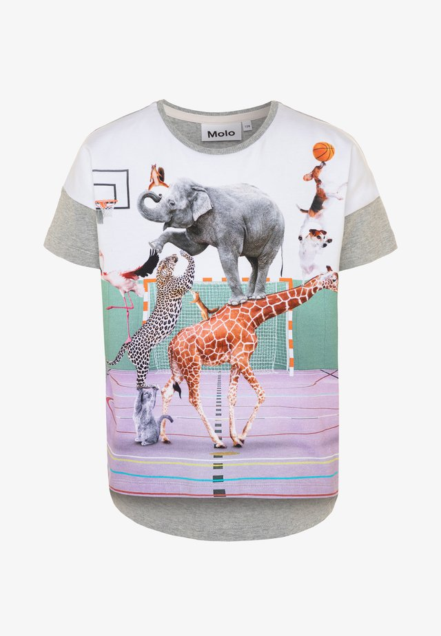 RAEESA - Print T-shirt - mottled grey