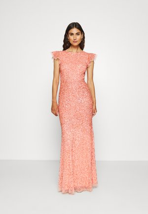 ALL OVER EMBELLISHED DRESS - Abito da sera - coral