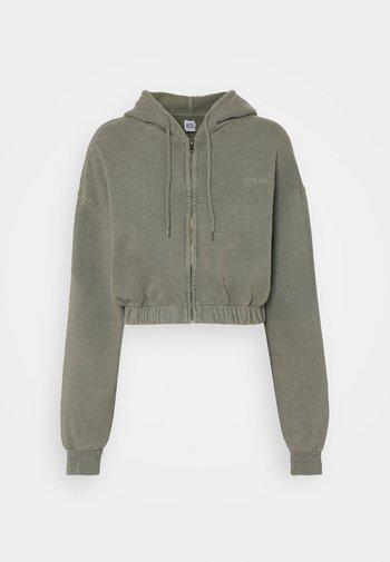 SUPER CROP ZIP HOODIE - Zip-up sweatshirt - sage