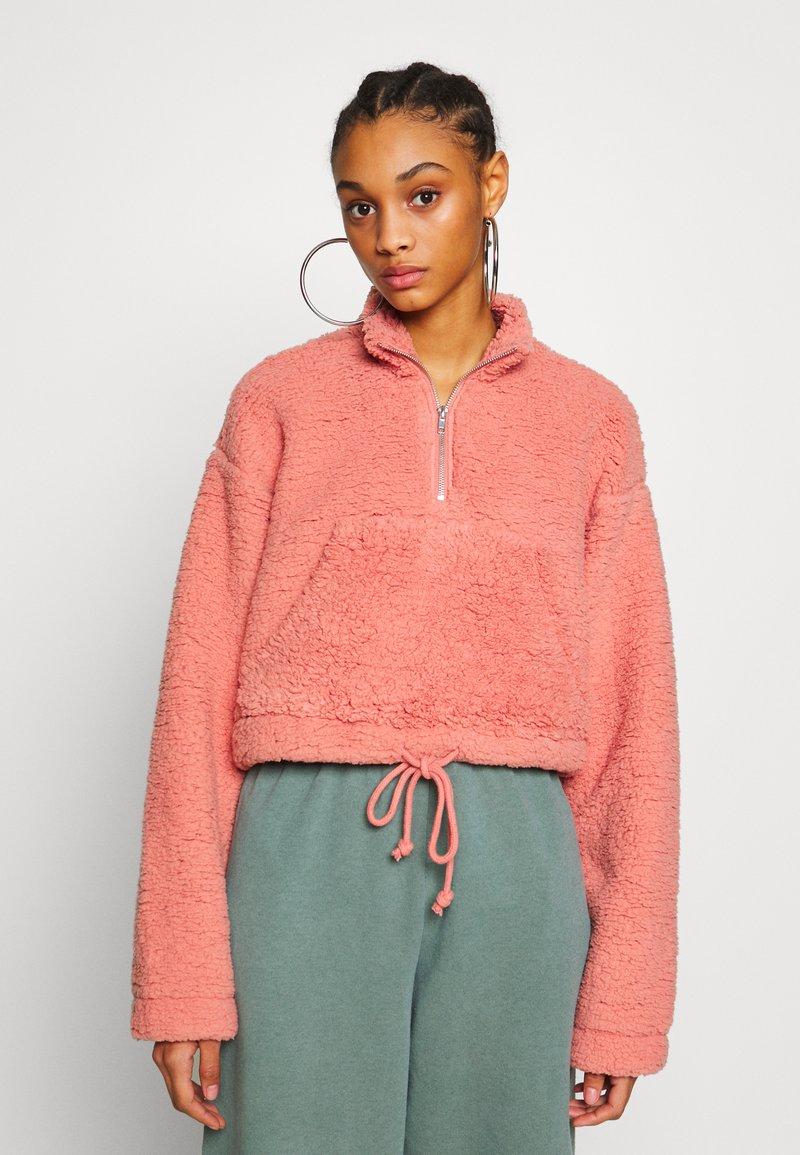 Topshop - BORG FUNNEL POCKET - Fleece jumper - pink